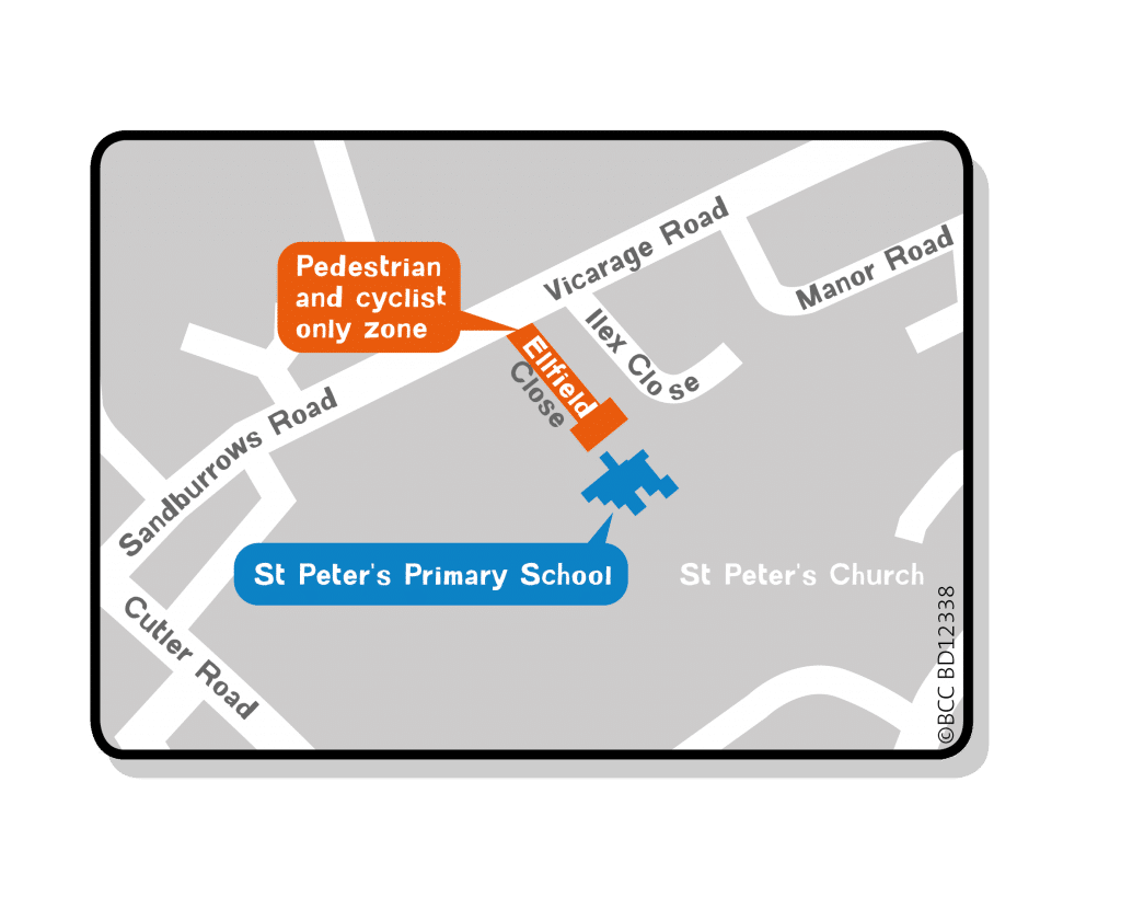 St Peter's School Streets map showing the Pedestrian and Cycle only zone