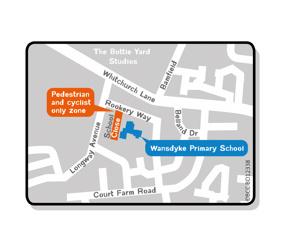 Wansdyke School Streets map showing the Pedestrian and Cycle only zone