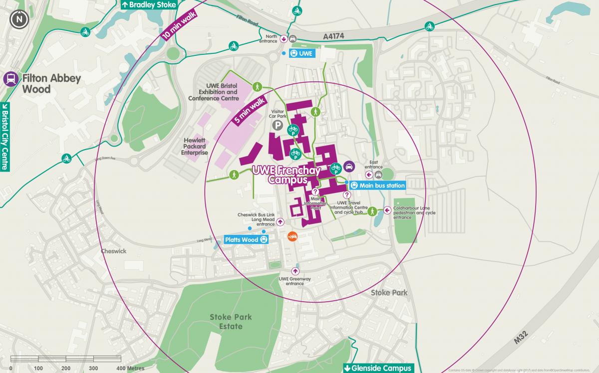 Business travel maps - UWE Frenchay main map