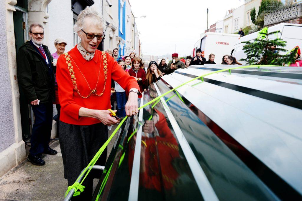 Bristol Mayor cutting the ribbon on the bike hangar