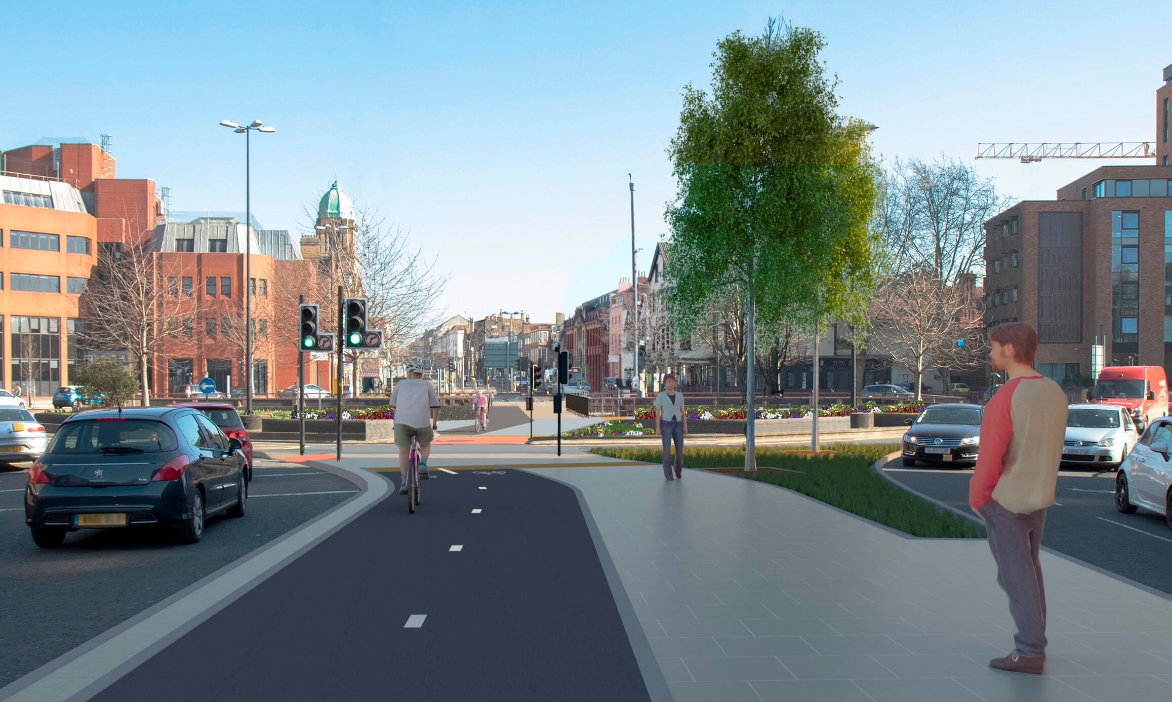 Old Market Cycle Safety Project - CGI visualisation entering from Castle Park