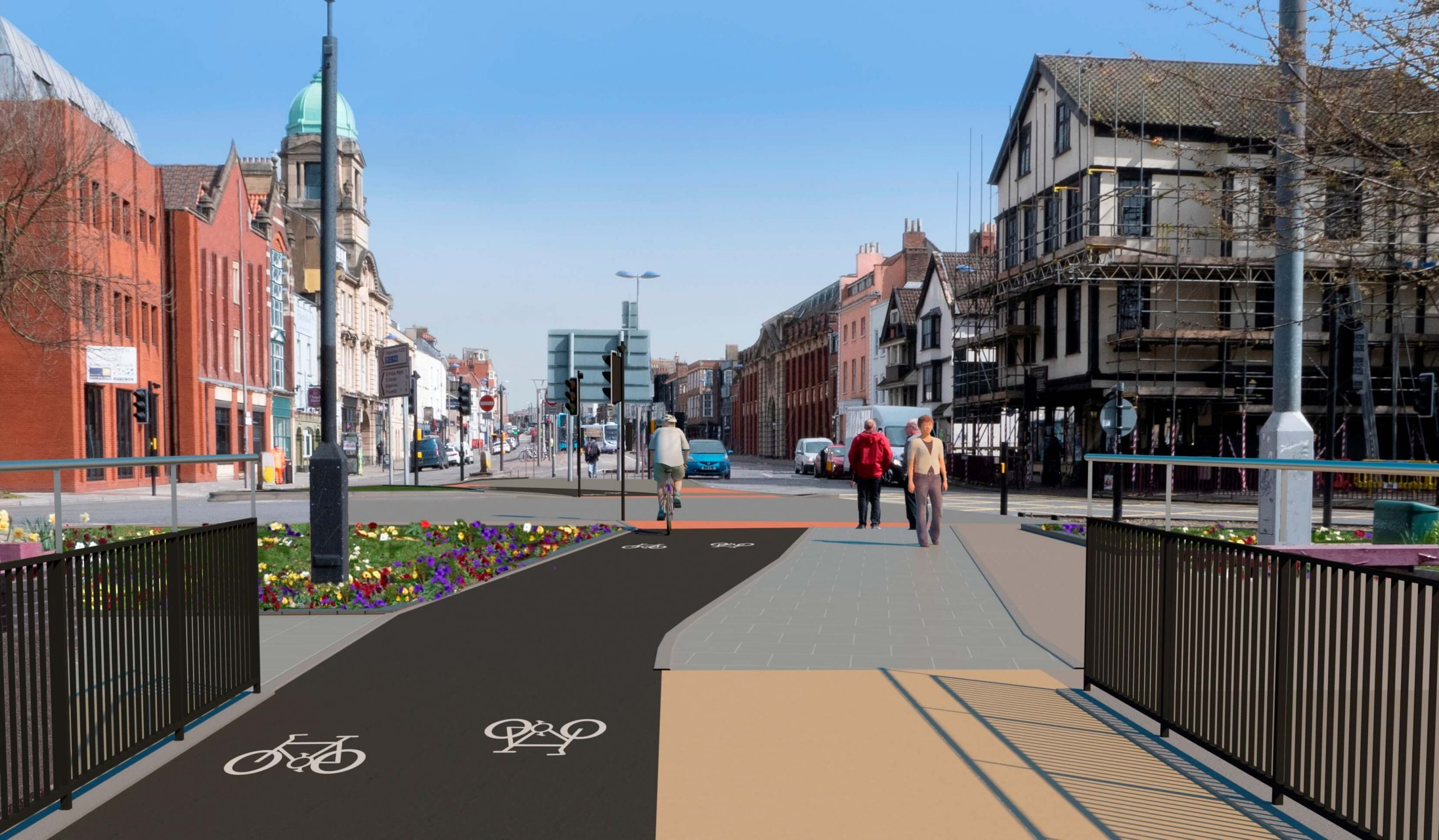 Old Market Cycle Safety Project - CGI visualisation of new route