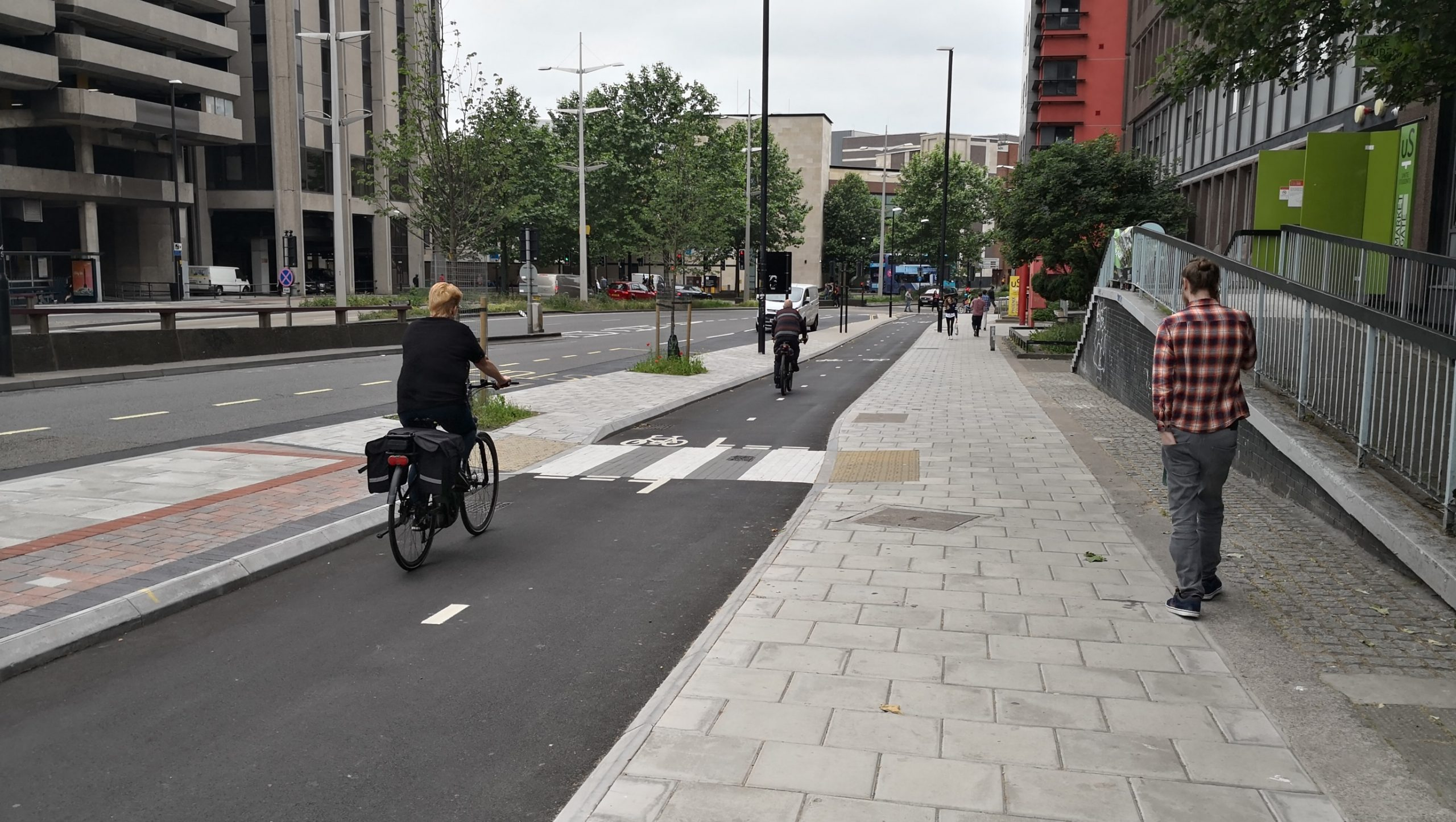Old Market Cycle Safety Project - Completed Section of Bond St South Cycleway