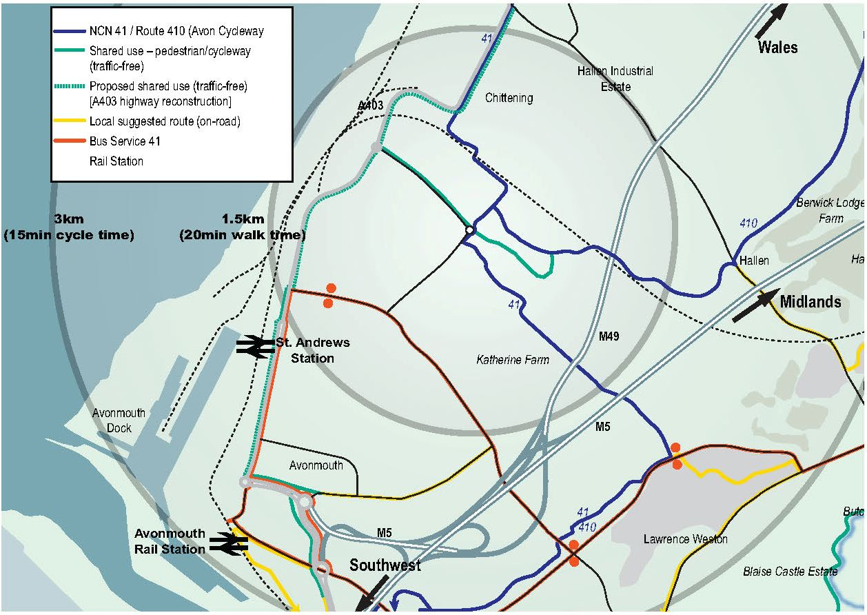 Map of area around Cabot Park showing NCN 41 / Route 410 (Avon Cycleway); Shared use - pedestrian/cycleway (traffic-free); Proposed shared use (traffic-free) [A403 highway reconstruction]; Local suggested route (on-road); Bus service 41; Rail Station.