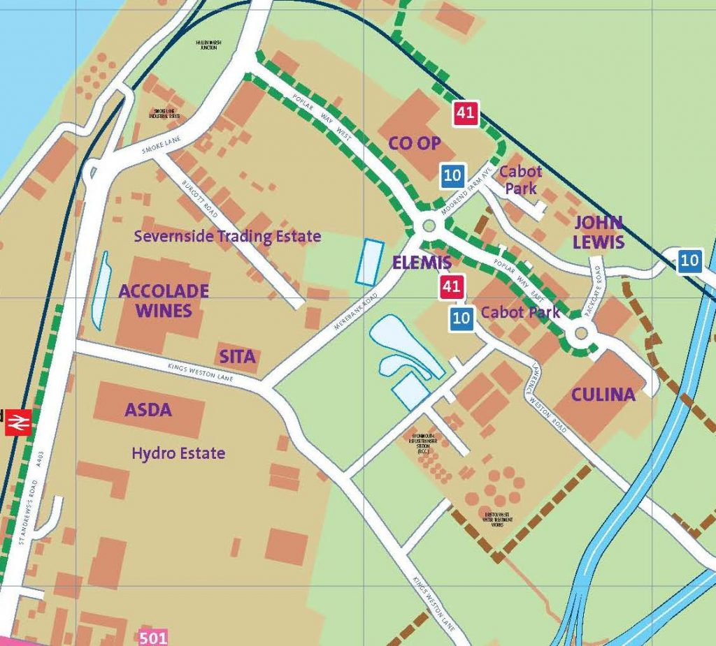 business travel maps - Cabot Park inset map
