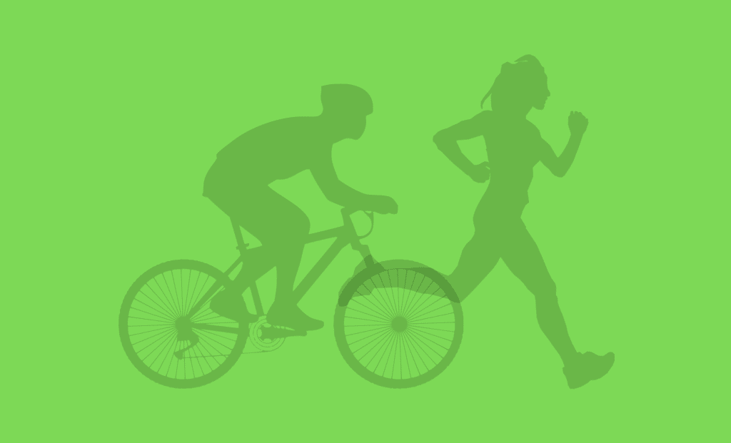 Green illustration of man on cyclist and person running.