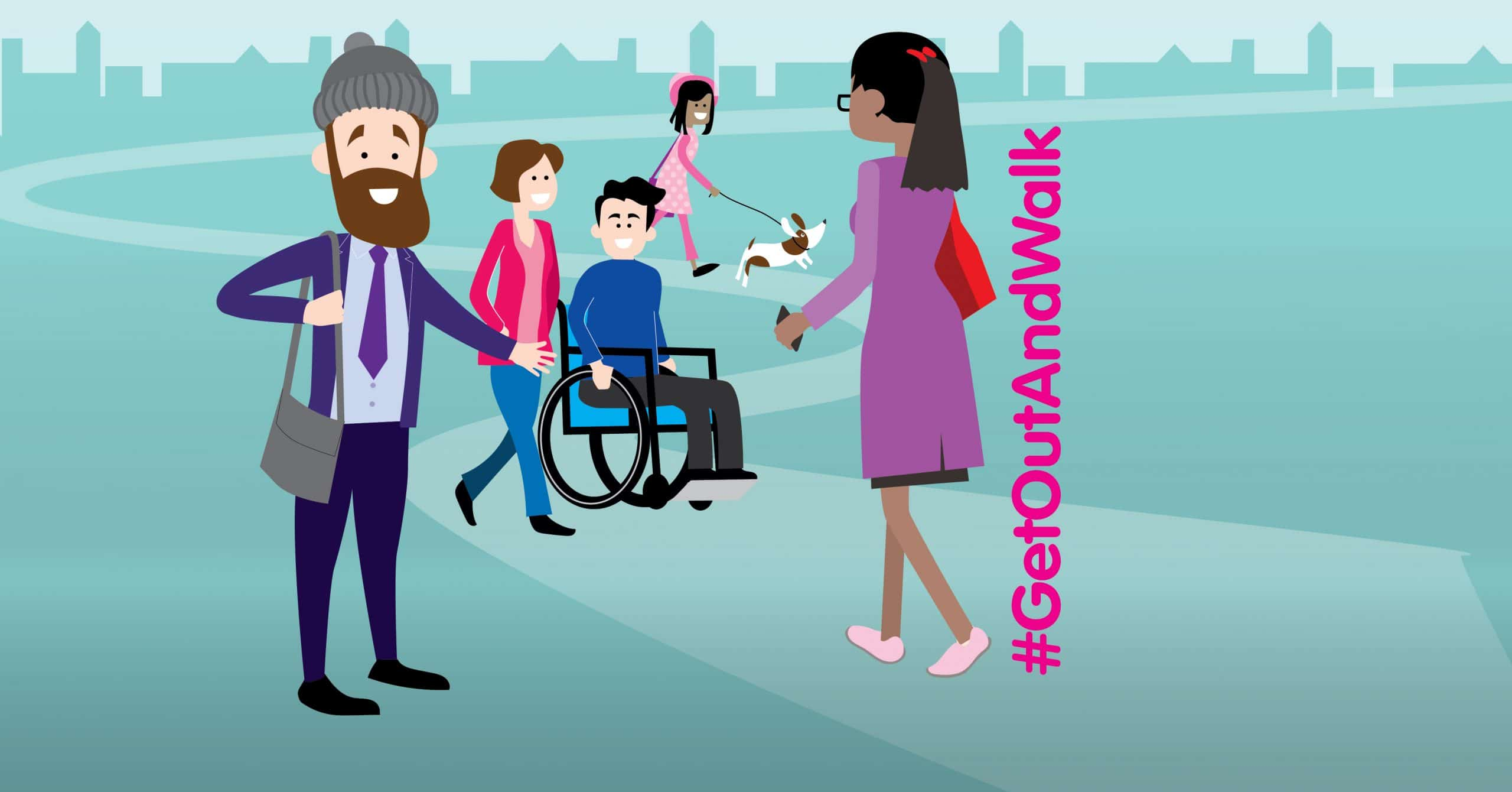 Illustration of people smiling whilst walking. There's a woman walking her dog, a man on a wheelchair with a woman walking beside him, a woman walking away holding a phone in her hand and a man standing facing us waving his hand. #GetOutAndWalk