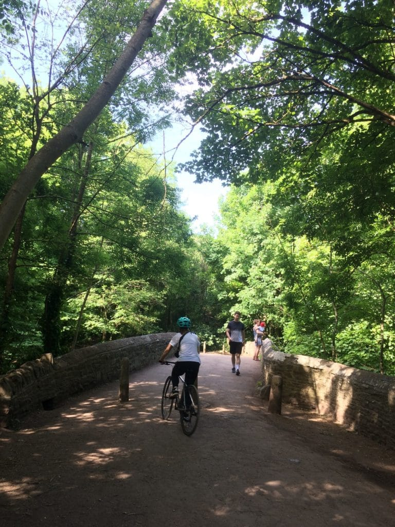 Photo of a stone bridge with a shared path on it. There are people standing on it, walking and cycling. It's surrounded by big green trees.