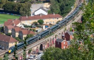 Train in Bath going through suburban areas