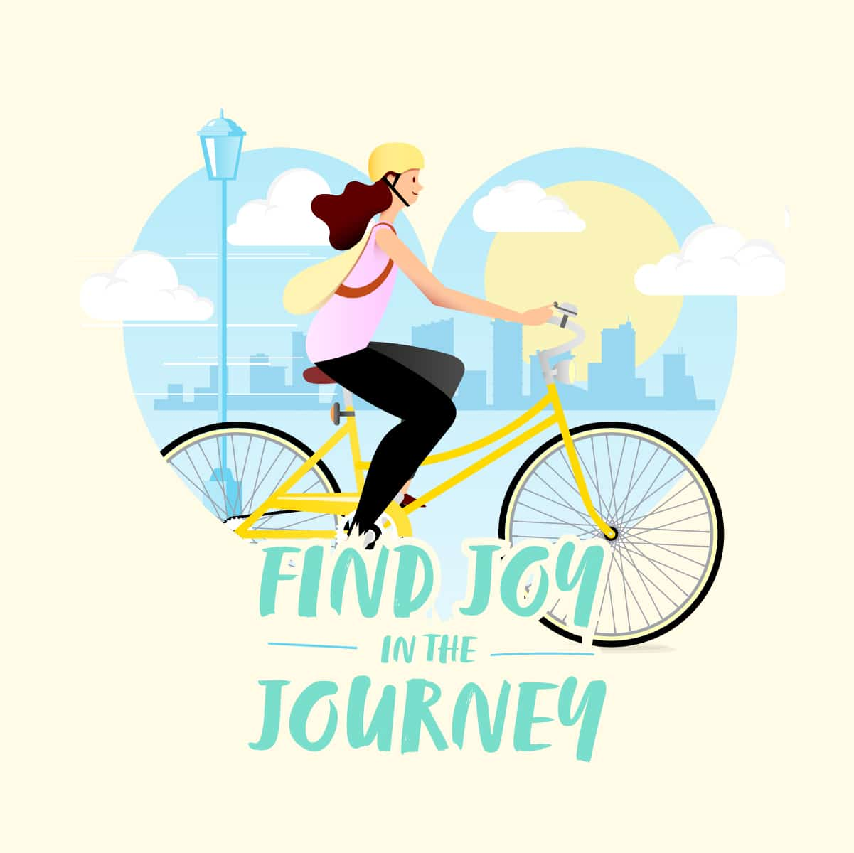 Find joy in the journey - woman cycling