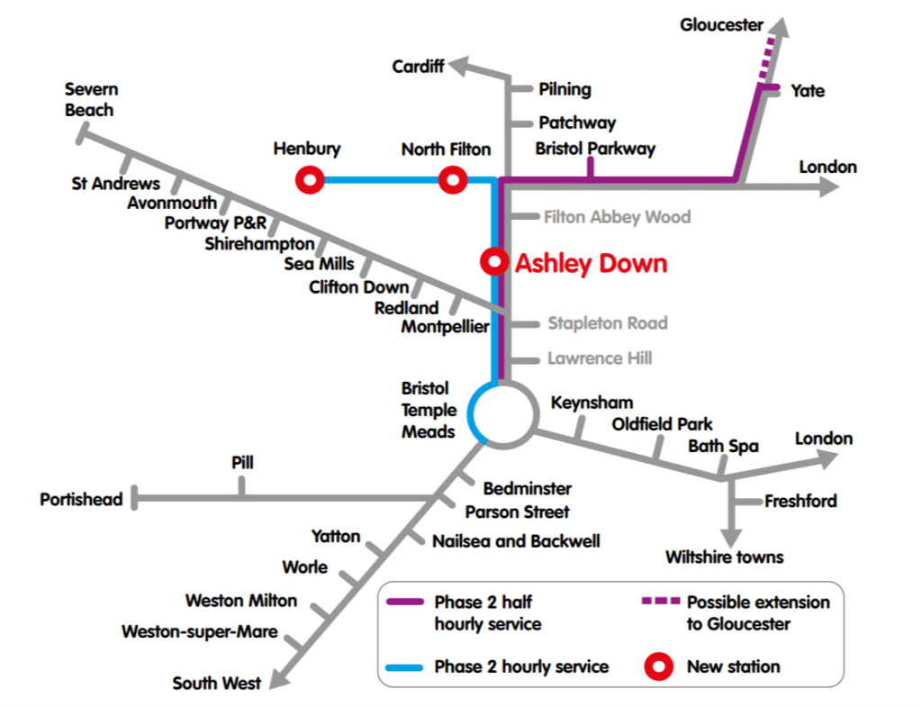 MetroWest network map with Ashley Down station