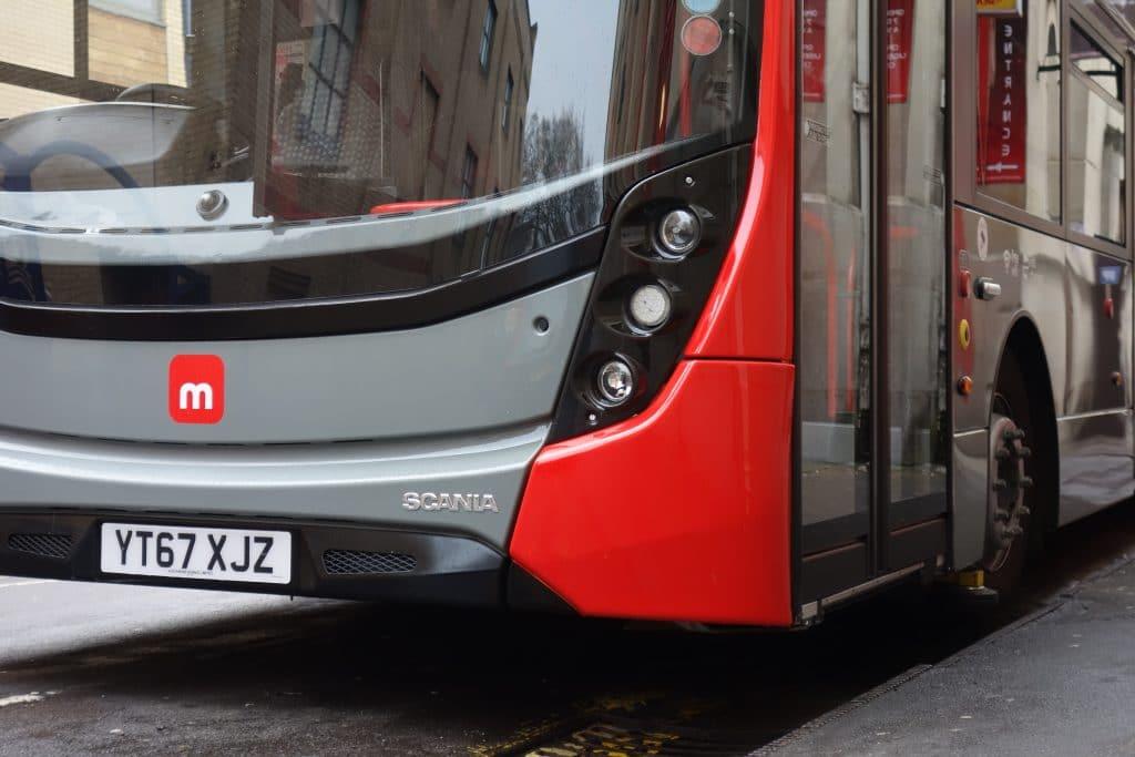 metrobus red bus up close