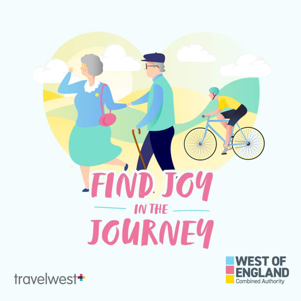 Find joy in the journey - senior couple walking and man cycling.