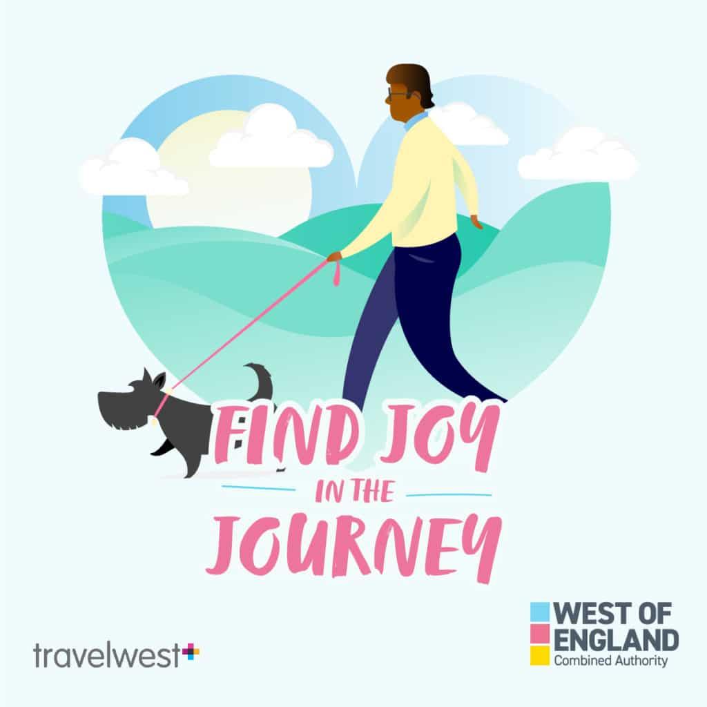 Find joy in the journey. Man walking a dog.