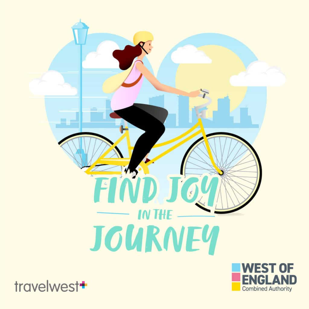 Find joy in the journey. Woman cycling.