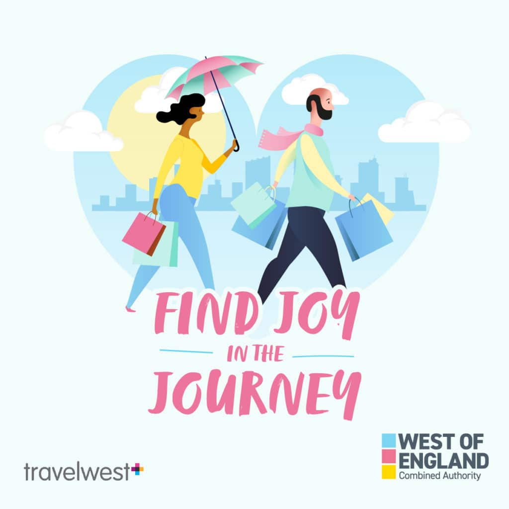 Find joy in the journey woman and man walking with shopping bags