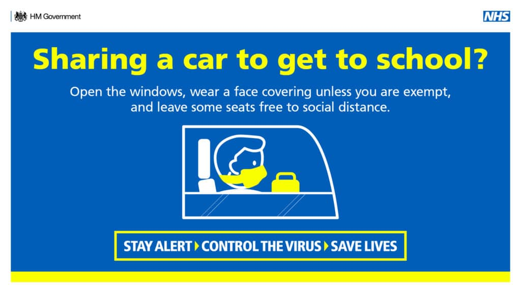 Open the windows, wear a face covering unless you are exempt, and leave some seats free to social distance. Stay Alert > Control the virus > Save lives