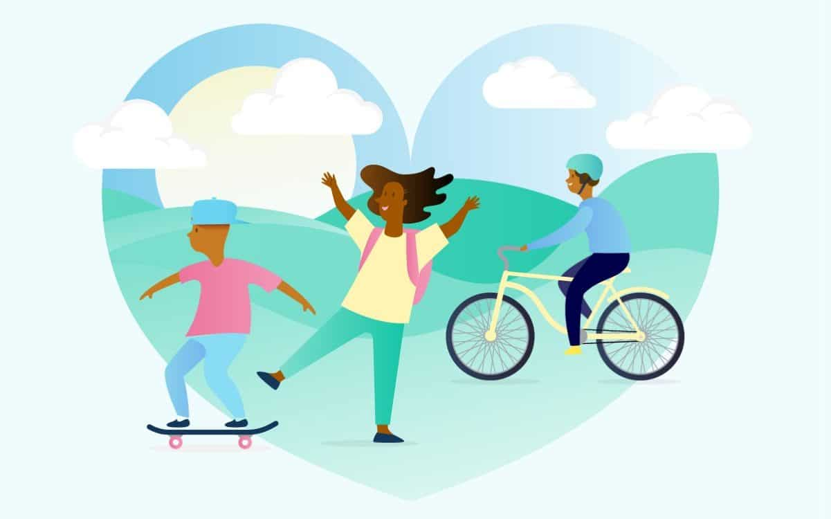 Find joy in the journey children skating, jumping and cycling