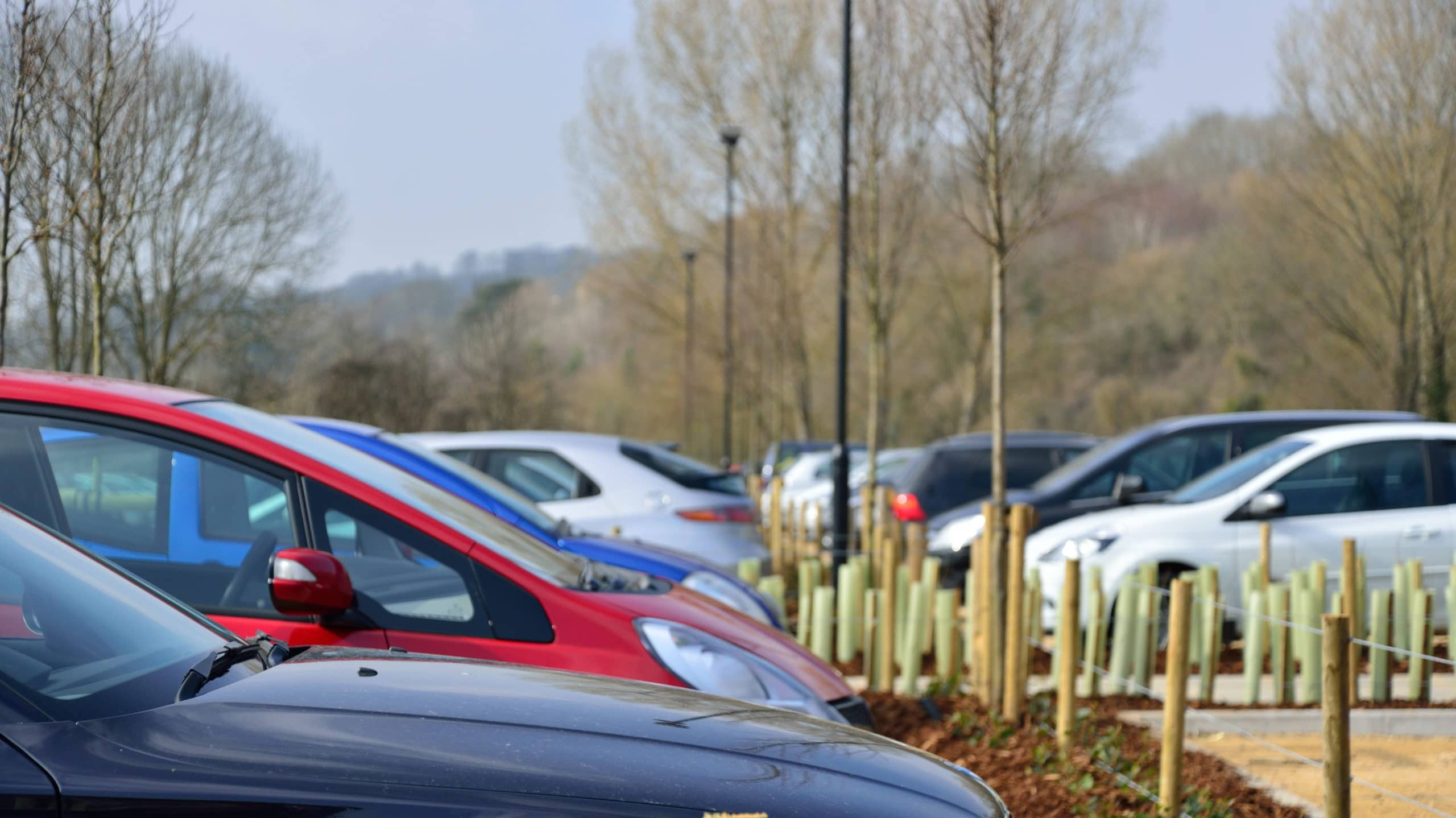 Cars parked at a Park & Ride site