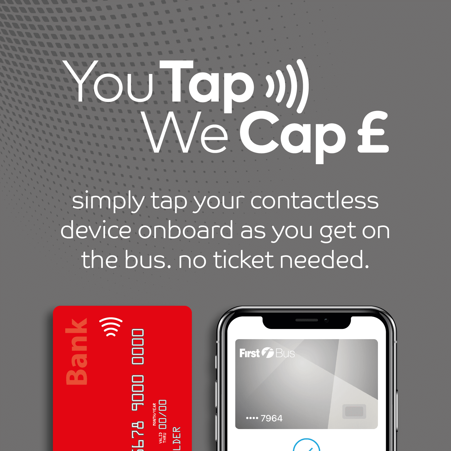 You Tap We Cap. simply tap your contactless device onboard as you get on the bus. no ticket needed.