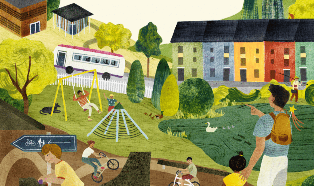 Illustration showing a playground, a pond with swans, colourful houses on a road with a bus passing by, children cycling, a fisherman and a man with his hand on a child's shoulder.