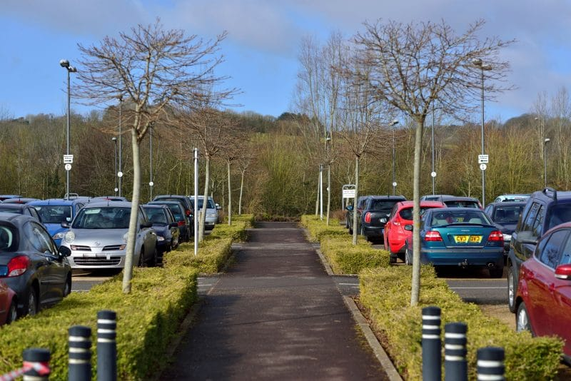 Cars parked at Park & Ride