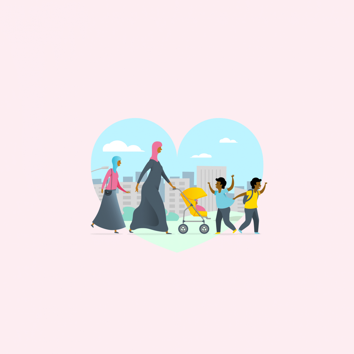 Two women walking behind two young boys. One of the women is pushing a baby chair with a baby.