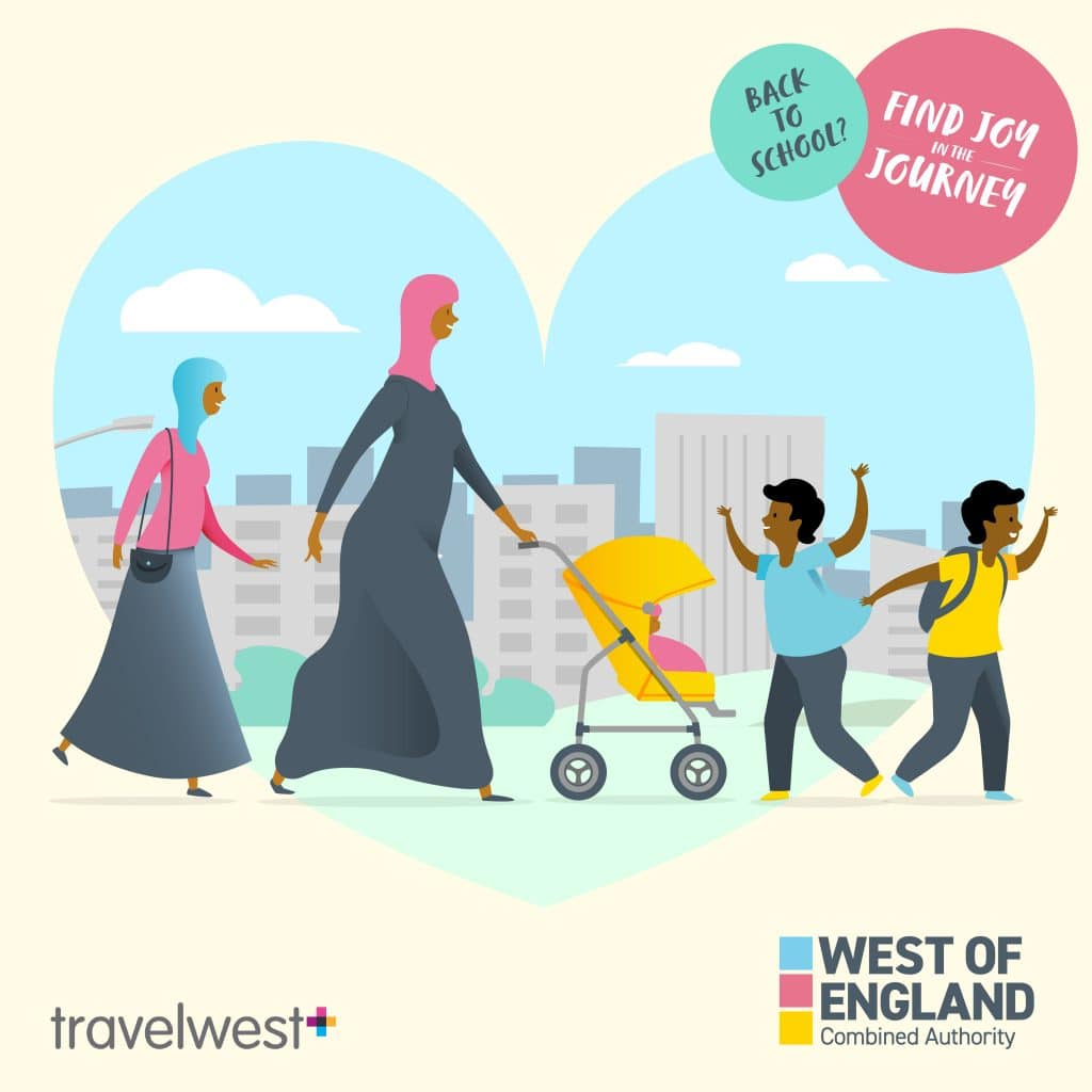 Back to school? Find Joy in the journey. Two women walking with two boys. One of the women is pushing a baby chair.