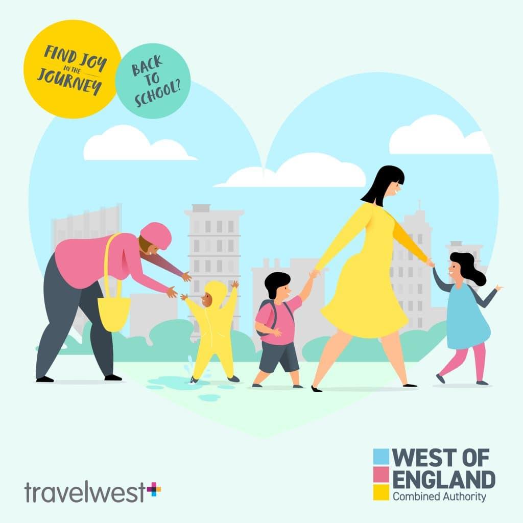 Back to school? Find joy in the journey. Two women walking with 3 children