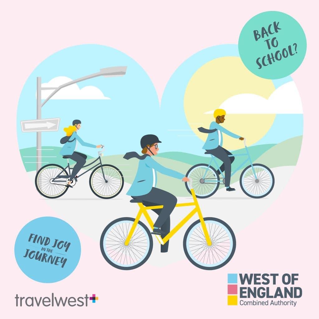 Back to school? Find joy in the journey. 3 school children on a bike