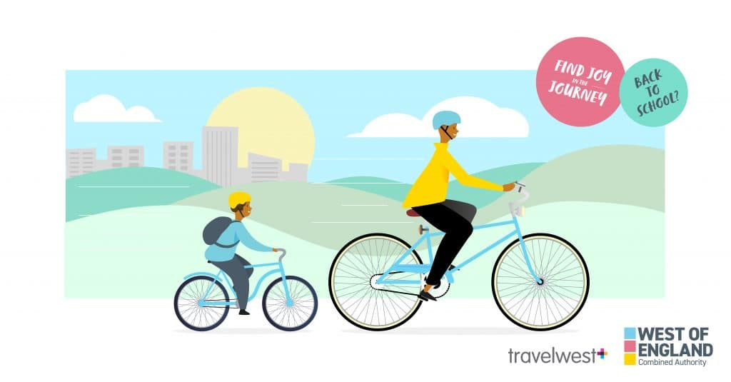 Landscape - Find joy in the journey. Illustration of father and son on bikes