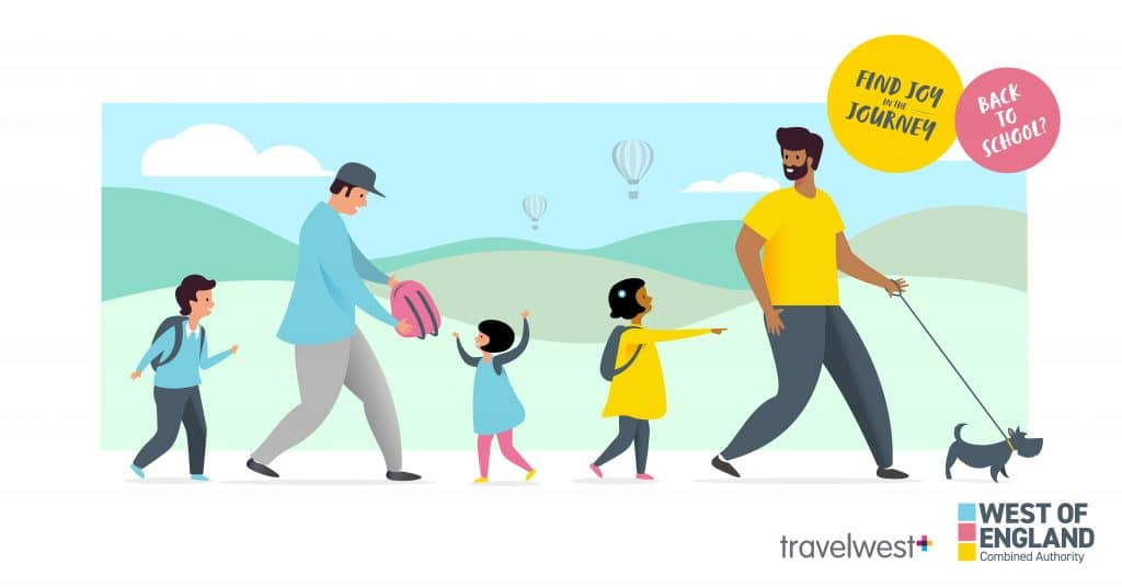 Landscape - Back to school? Find joy in the journey. Two men walking with 3 children and one dog