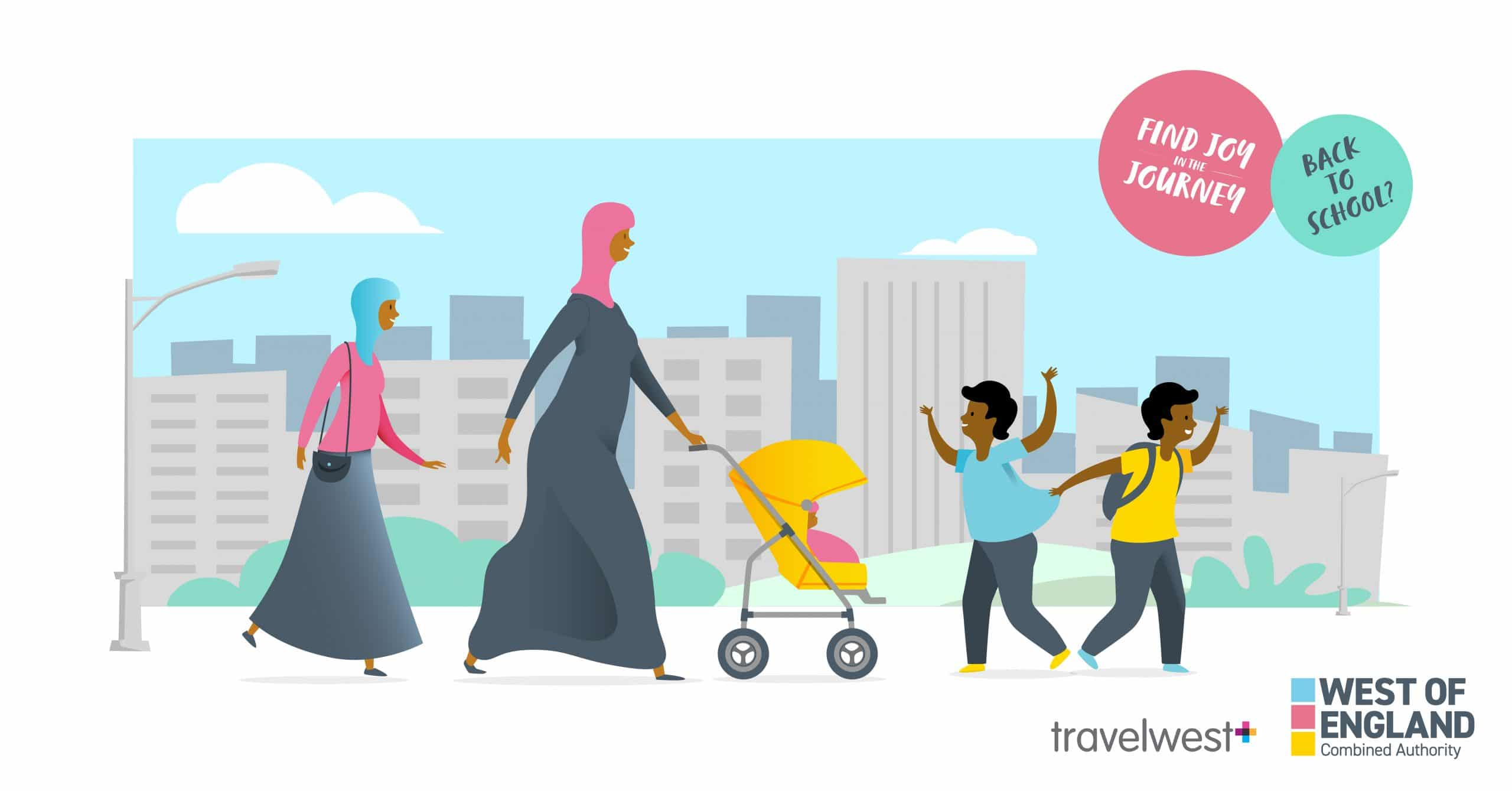 Back to School? Find joy in the journey. Two women walking with two younger boys. One of the women is pushing a baby chair.