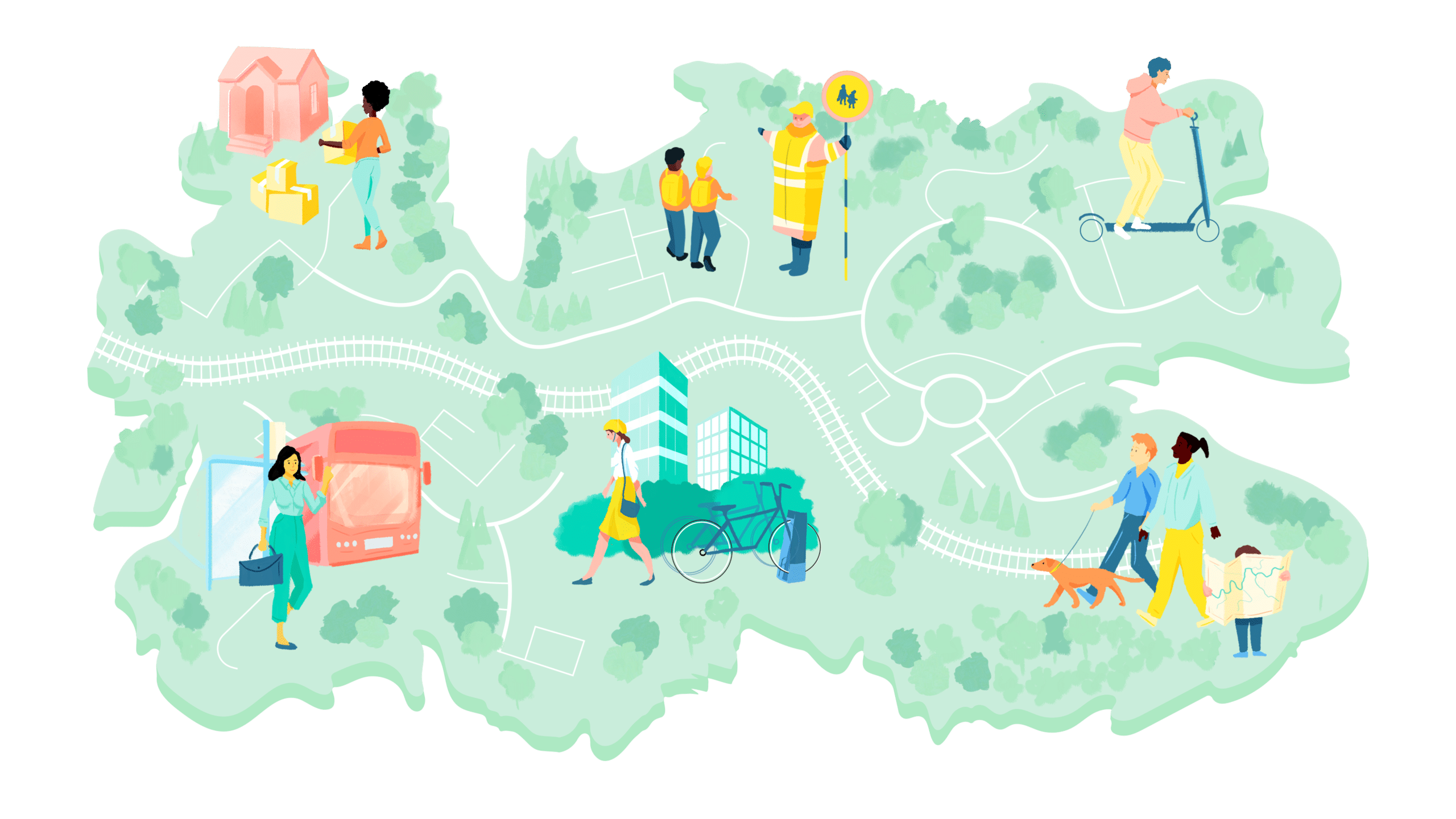 engagement map with illustrations of people using different modes of transport and moving home