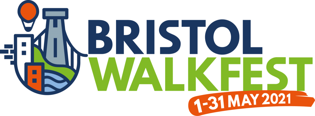 Illustrative Logo showing the Bristol Suspension Bridge and a hot hair balloon. It reads Bristol Walk Fest. 1 - 31 May 2021.
