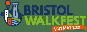 Illustrative Logo showing the Bristol Suspension Bridge and a hot hair balloon. It reads Bristol Walk Fest. 1 - 31 May 2021.