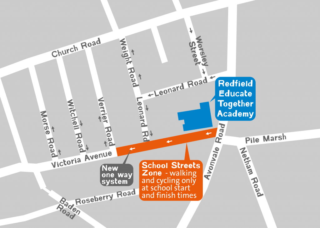 Redfield School Streets map showing the pedestrian and cycle only zone and the new one way system