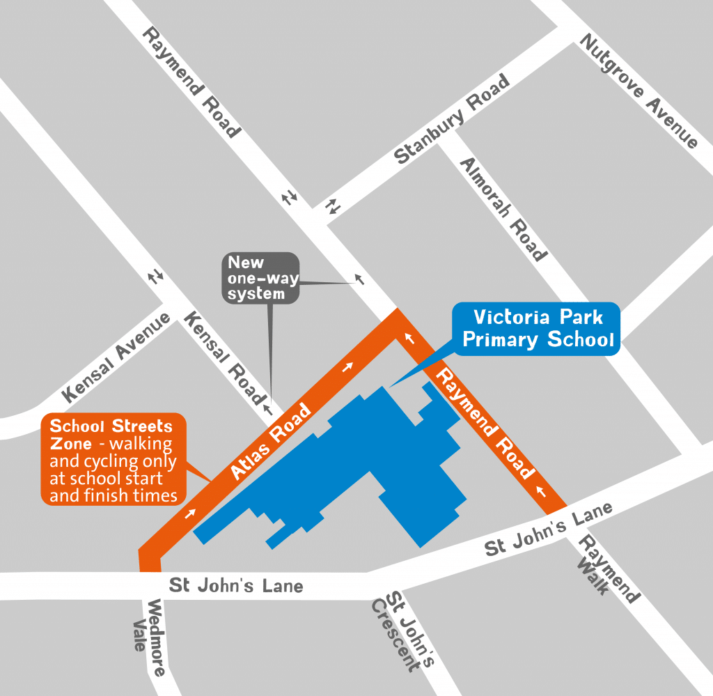 Victoria Park School Streets map showing the pedestrian and cycle only zone and the new one way system