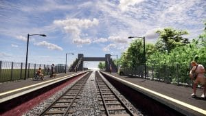 3D illustration of view from the middle of the rail tracks. We can see in the distance the footbridge with the stairs and the lift towers on both sides. There are people waiting for the train on platforms to the right and left, including a person in a wheelchair and a person with a small dog on a short leash. There is a ticket point to the right and we can see people next to the ticket point outside near the main entrance to the left.