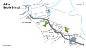 Map showing the section of the A4 in South Bristol. Details of the route can be found within the content.