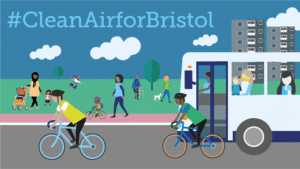 Illustration showing people walking in a park, and cyclists and a bus on a road. #CleanAirforBristol