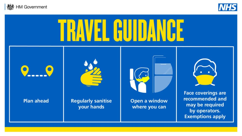 Travel guidance. Plan ahead. Regularly sanitise your hands. Open a window where you can. Face coverings are recommended and may be required by operators. Exemptions apply