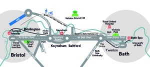 Illustration showing the A4 Bristol to Bath road from Bristol Temple Meads rail station, via Three Lamps Junction, Arno's Court Park, Brislington Park & ride, Hicks Gate, Keynsham Bypass, Keynsham rail station, Saltford, The Globe, Newbridge Park & Ride, Victoria Park and Bath Spa rail station. The map also shows connections to A37 Wells Road, West Town Lane, A4174 Ring Road and M32, Bristol and Bath Railway Path and Kelston Round Hill, A39 Wells Road and Bath Span University, Lower Bristol Road and Twerton, Royal United Hospital and University of Bath.