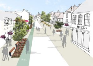 Artist illustration of Thornbury High Street showing buildings, main road, people walking in pedestrianised areas and a cycle path