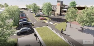 Indicative illustration of front entrance and car park of the proposed Charfield Rail Station