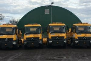 north somerset council gritters frosty, scoopy, ice destroyer and big grit